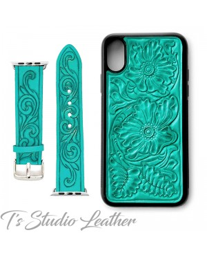Western Style Hand Tooled Turquoise Leather Phone Case and matching watch band, by Ts Studio Leather