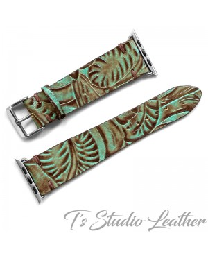 Ts Studio Leather Western Turquoise Floral watch band