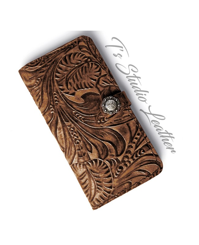 Western Brown Floral Wallet Phone Case by Ts Studio Leather