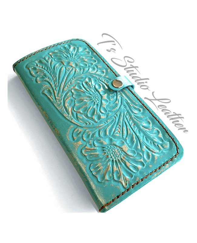Ts Studio Turquoise Hand Tooled Leather Phone Case - Western Style floral folio wallet style case