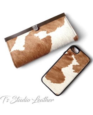 Western Style Hair On Cowhide Leather Phone Case