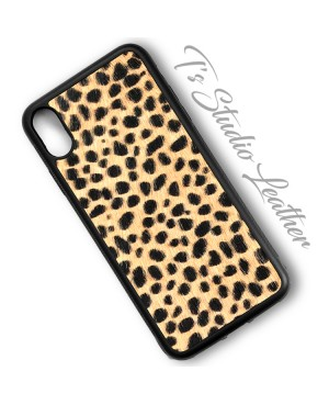 Cheetah Print Hair On Cowhide Leather Phone Case
