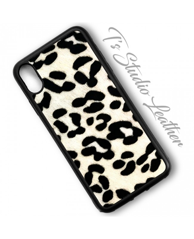 Black & White Dalmation Print Hair On Cowhide Leather Phone Case