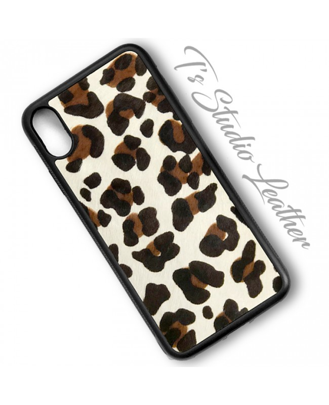 Leopard Print Hair On Cowhide Leather Phone Case