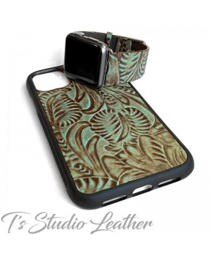 Western Turquoise Brown Leather Phone Case and matching watch band by Ts Studio Leather