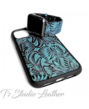 Western Turquoise and Black Leather Phone Case with matching watch band