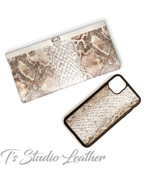 Python Snakeskin Cowhide Leather Phone Case and matching wallet
