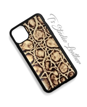 Tortoise Texture Cowhide Leather Phone Case