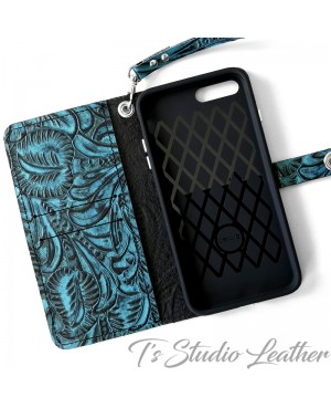 Ts Studio Leather Western Turquoise Floral Wallet Phone Case