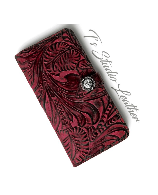 Ts Studio Leather Western Burgundy Floral Wallet Phone Case
