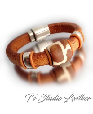 Whiskey Brown Leather Bracelet with Giraffe Animal Print Focal Slider