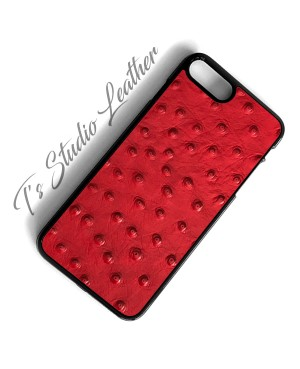 Red Ostrich Leather Phone Case - Genuine Cowhide Leather