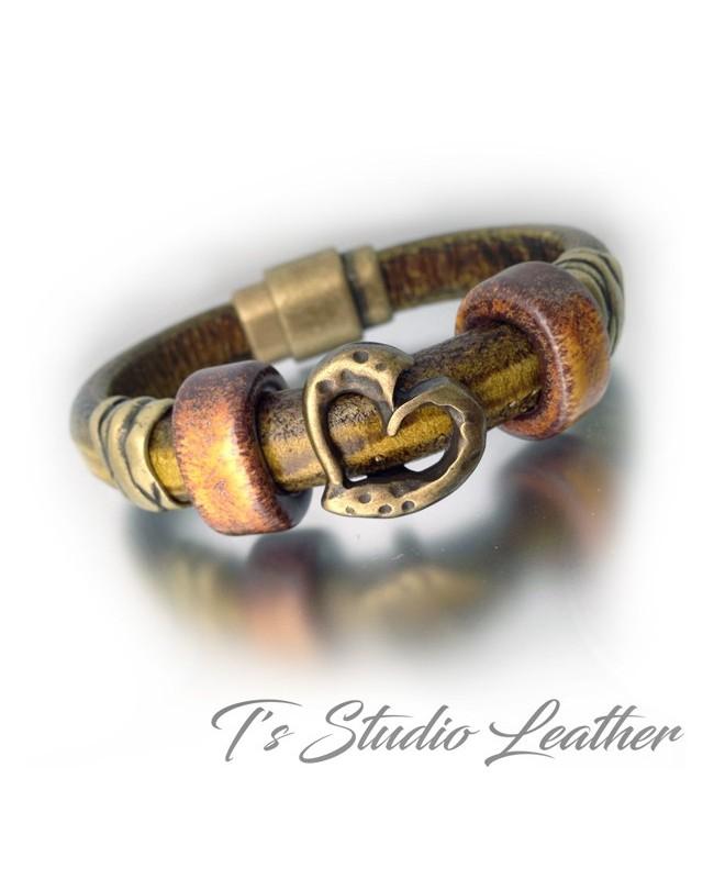 Whiskey Brown Leather Bracelet with Giraffe Animal Print Focal Slider