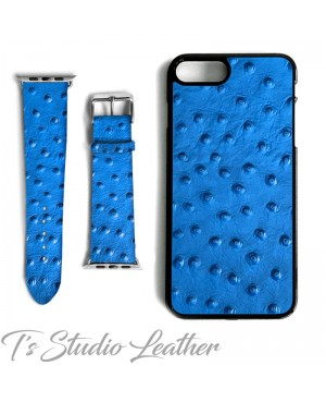 Blue Ostrich Leather Phone Case - Genuine Cowhide Leather