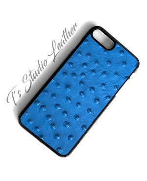 Blue Ostrich Leather Phone Case