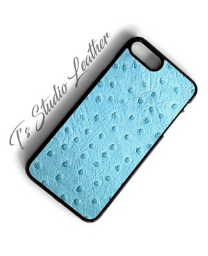 Light Baby Blue Ostrich Leather Phone Case - Genuine Cowhide Leather