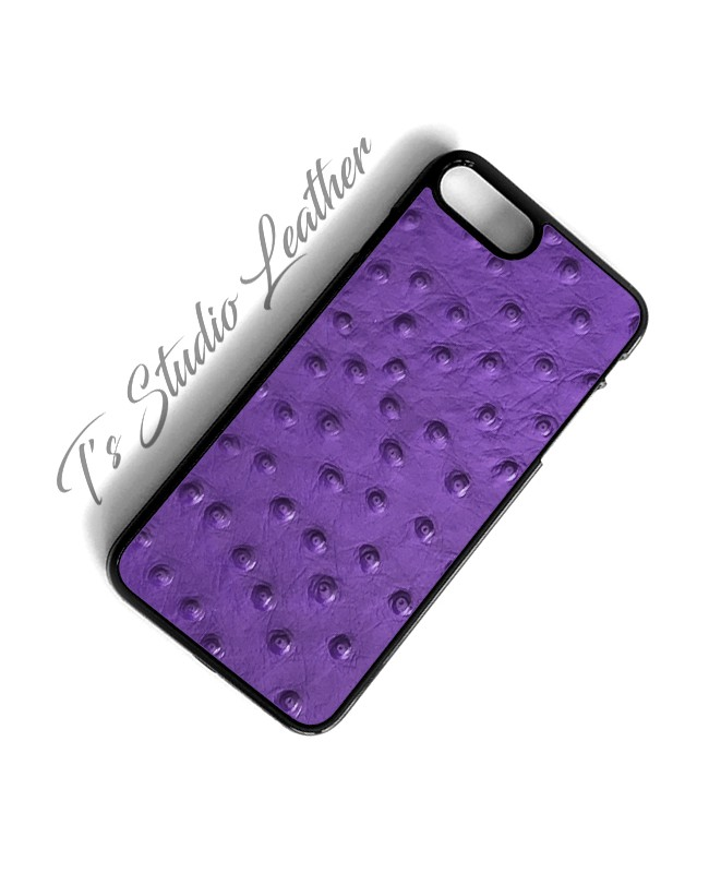 Purple Ostrich Leather Phone Case - Genuine Cowhide Leather