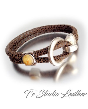 Textured Brown Suede Leather Bracelet with Silver Buckle Clasp