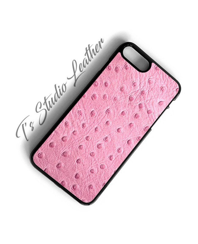 Pink Ostrich Leather Phone Case - Genuine Cowhide Leather