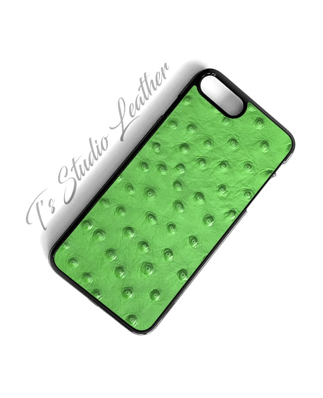 Green Ostrich Leather Phone Case - Genuine Cowhide Leather