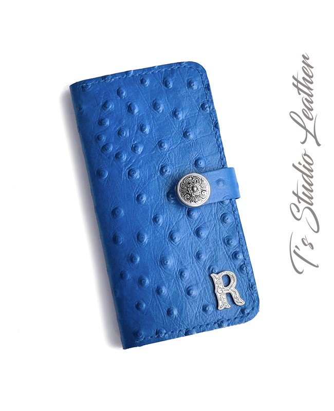 Blue Ostrich Personalized Leather Wallet Phone Case