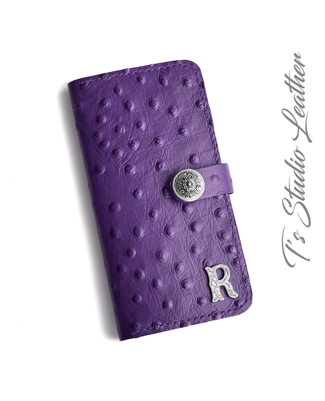 Purple Ostrich Personalized Leather Wallet Phone Case
