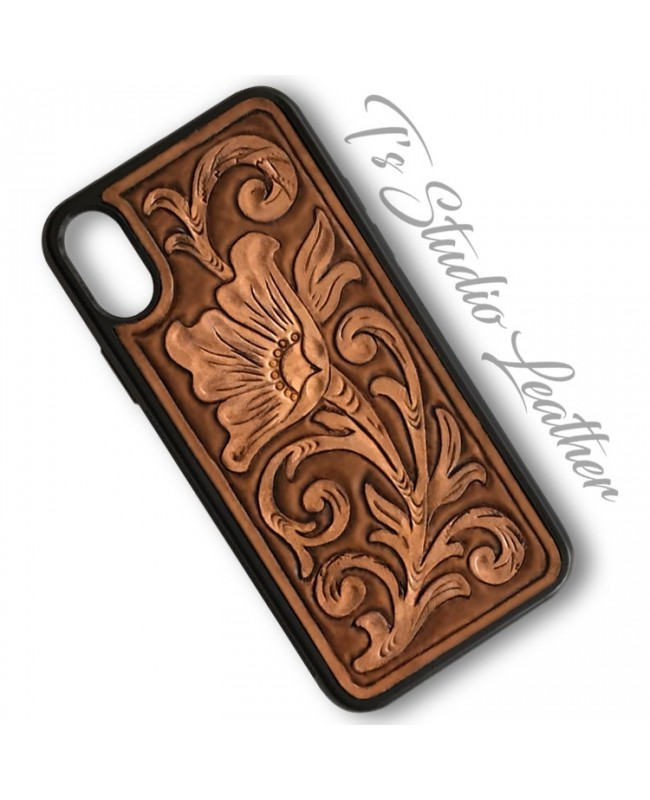 Western Style Hand Tooled Leather Phone Case by Ts Studio Leather
