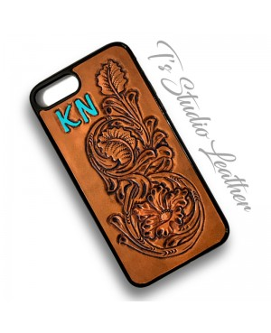 Custom Personalized Hand Tooled Western Style Leather Phone Case - Gift Idea