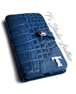 Blue Alligator Croc Leather Phone Case