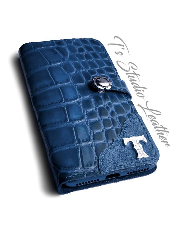 Blue Alligator Croc Leather Phone Case