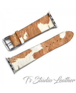 Western Style Hair On Cowhide Leather Apple Watch band