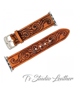 Western Style Hand Tooled Leather Apple Watch band