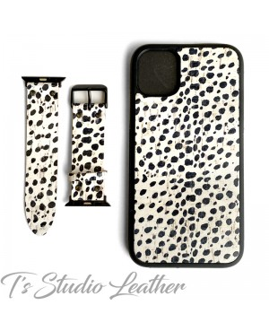 Black and White Animal Print Cork on Leather Phone Case with matching Apple Watch Band Strap