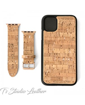 Cork on Leather Phone Case with matching Apple Watch Band Strap