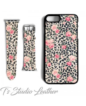 Black and White Animal Print with Pink Roses Cork on Leather Phone Case with matching Apple Watch Band Strap