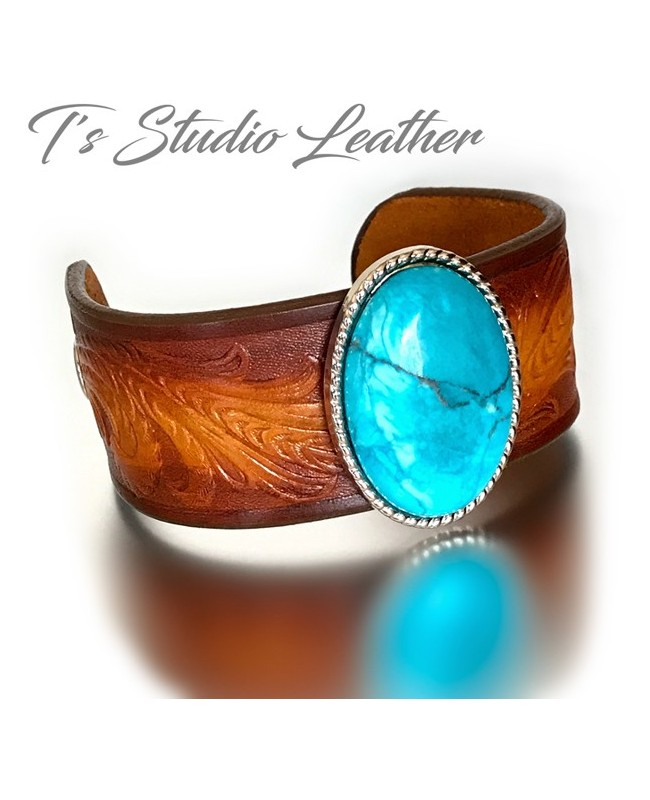 Brown Tooled Leather Cuff Bracelet Wristband with Turquoise Concho