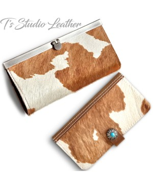 Western Style Hair On Cowhide Leather Phone Case with matching wallet