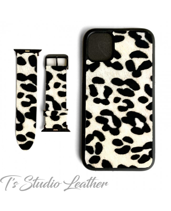 Animal Print Hair On Cowhide Leather Phone Case with matching Apple Watch band