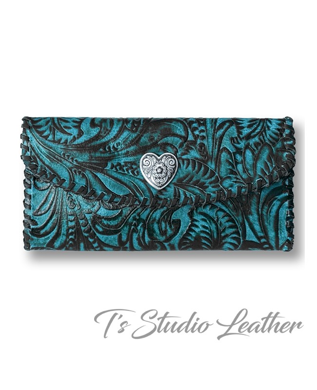 Turquoise and Black Western Style Womens Wallet