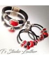 Black Textured Licorice Leather Bracelet with Red Focal Slider