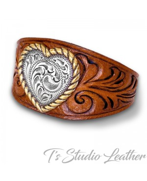 Western Style Hand Tooled Leather Cuff Bracelet Wristband with Silver Heart Concho and Buckle Clasp