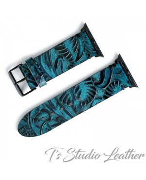 Western Style Black and Turquoise Leather Apple Watch band