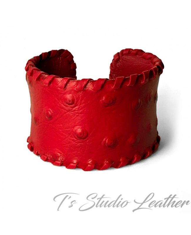 Leather Cuff Bracelet in Red Ostrich Print with Whipstitched Edge