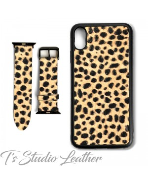 Cheetah Animal Print Hair-on Leather Phone Case and Watch band
