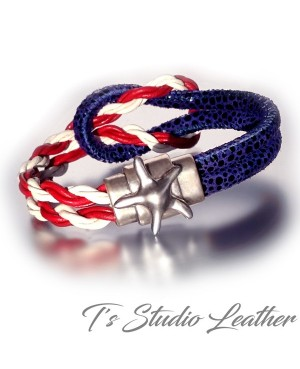 USA American Flag Leather Bracelet - Red White and Blue with Silver Star Clasp