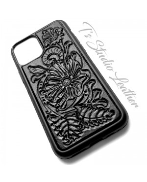 Western Style Hand Tooled Black Leather Phone Case by Ts Studio Leather