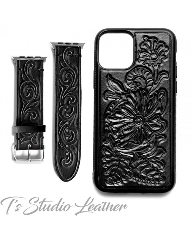 Western Style Hand Tooled Black Leather Phone Case with matching Apple Watch band