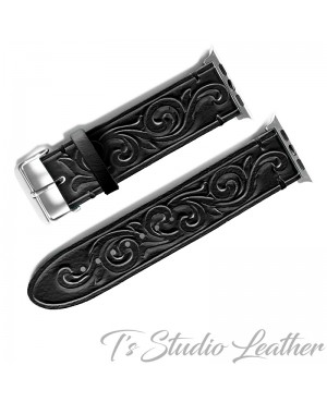 Black Leather Western Style Hand Tooled Apple Watch band