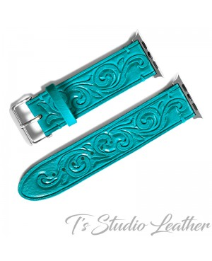 Turquoise Leather Western Style Hand Tooled Apple Watch band