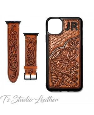 Personalized Western Style Hand Tooled Leather Phone Case with matching Apple Watch band